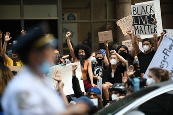 Protesters at the New York demonstration against the killing of George Floyd, May 29, 2020.