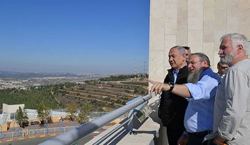 Netanyahu with settler leaders during a visit to Alon Shvut in the West Bank, on November 19, 2019.