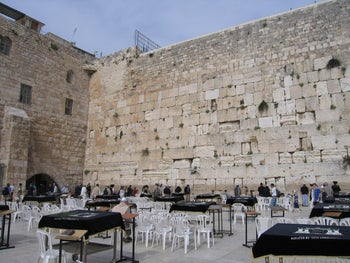 The plaza in front of the Western Wall: Wilson's Arch on the left