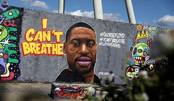 A mural depicting George Floyd at Mauerpark in Berlin, Germany, May 30, 2020.