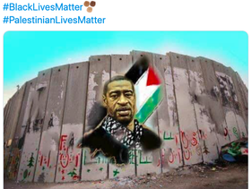 Tweet showing new mural showing George Floyd wearing a keffiyeh by Palestinian artist Walid Ayoub on the West Bank separation wall