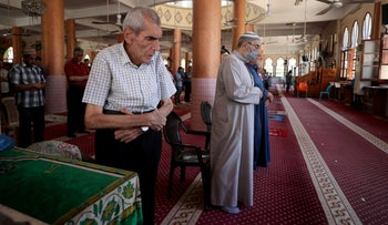 Worshippers perform noon prayers in AL-Abbas mosque as it reopens after Palestinians ease coronavirus restrictions, in Gaza City, Gaza, June 3, 2020.