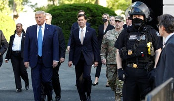 U.S. President Donald Trump departs the White House to visit outside St. John's Church in Washington,  June 1, 2020.