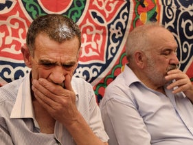 Khairy Hallaq, Eyad's father, in the mourning tent this week.