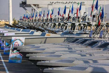 Ceremony to markthe Iranian Revolutionary Guards Corps receiving 110 high-speed vessels, in the port city of Bandar Abbas overlooking the Gulf, May 28, 2020.