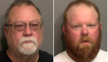 Gregory McMichael and his son Travis McMichael who were arrested and charged with murder in the shooting death of unarmed black man Ahmaud Arbery, in Brunswick, Georgia, May 7, 2020.