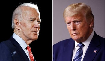 Joe Biden speaks in Delaware on March 12, 2020 and Donald Trump at the White House in Washington on April 5, 2020.