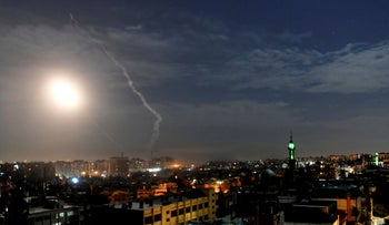 File photo: Missiles flying into the sky in Damascus, Syria, Jan. 21, 2019.
