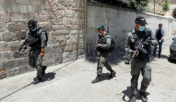 Member of the Israeli security forces patrol in east Jerusalem on May 30, 2020.
