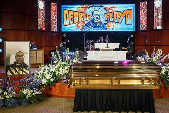 The remains of George Floyd at a memorial service in his honor on June 4, 2020, in Minneapolis, Minnesota.