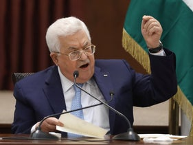 Palestinian Authority President Mahmoud Abbas speaks during the Palestinian leadership meeting at his headquarters in the West Bank city of Ramallah, May 19, 2020.