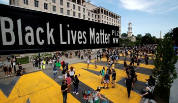 A street sign of Black Lives Matter Plaza is seen near St. John's Episcopal Church, right next to the White House in Washington, U.S., June 5, 2020.