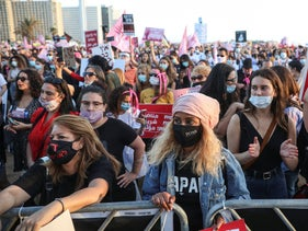 Protesters at a demonstration against authorities' handling of violence against women, June 1, 2020