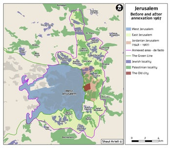 A map showing Jerusalem before and after the 1967 annexation.