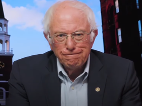 Bernie Sanders speaks in a video message to demonstrators at Rabin Square in Tel Aviv during a rally against Israeli plans to annex parts of the West Bank.