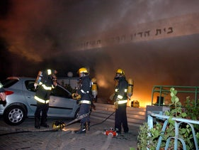 The 2005 fire at the Tel Aviv rabbinical court.