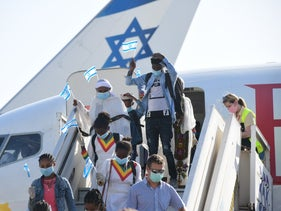 Immigrants from Ethiopia arriving in Israel during the coronavirus crisis, spring 2020.