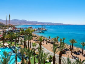 An aerial view of the seashore in Eilat.