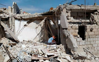The rubble of a house that Syrian authorities said was attacked in an Israeli airstrike.