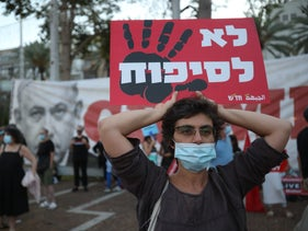Anti-annexation protest at Tel Aviv's Rabin Square, May 7, 2020.