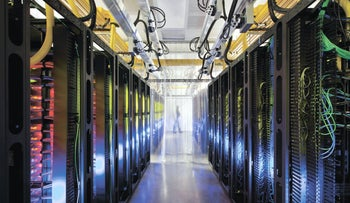 A campus-network room at a Google data center in Council Bluffs, Iowa, undated.