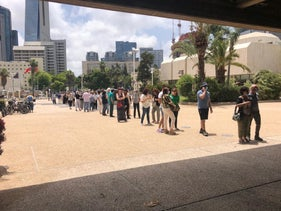 The line outside the Tel Aviv Museum of Art after the government permitted museums to reopen during the coronavirus crisis, June 3, 2020
