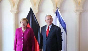 German Chancellor Angela Merkel and Prime Minister Benjamin Netanyahu in Jerusalem, 2018