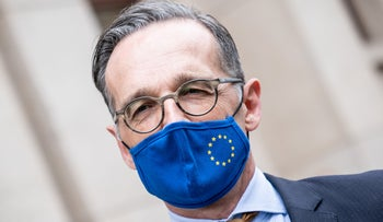 German Foreign Minister Heiko Maas wears a face mask with the European Union flag, Berlin, June 5, 2020.
