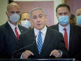 Prime Minister Benjamin Netanyahu on the first day of his trial in the Jerusalem District Court, May 24, 2020