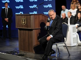 Prime Minister Benjamin Netanyahu at a Likud party conference, Lod, February 11, 2020. In 2010, he earned 16 million shekels (over $4.4 million) from the sale of stock in Milikowsky's company.