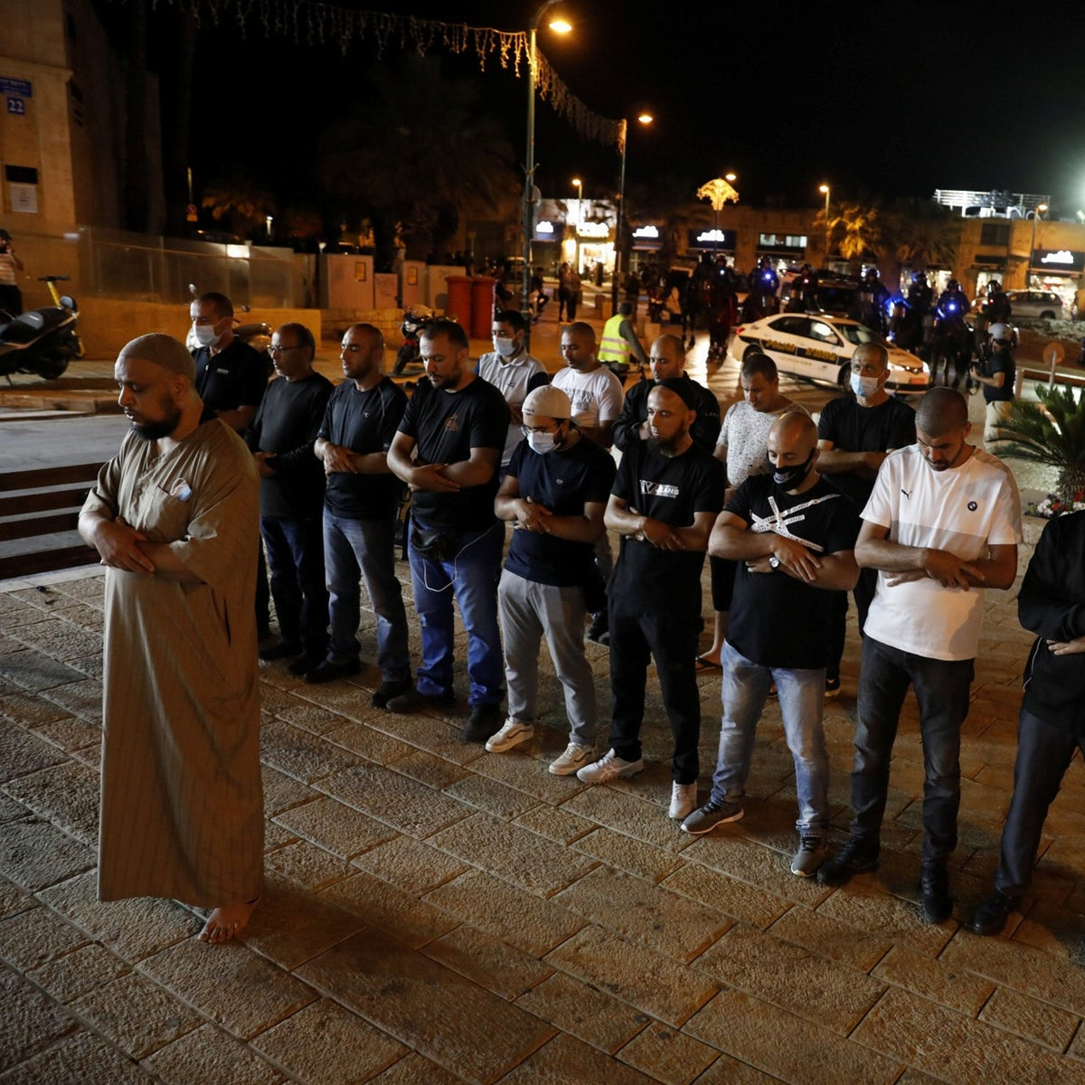 The prayer demonstration that took place as part of the the protests in Jaffa, June 10, 2020