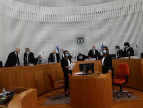 Israel's High Court, in session, May 3, 2020.