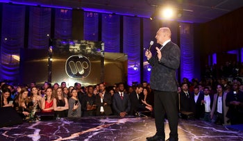 Len Blavatnik speaking onstage during the Warner Music Group pre-Grammy party in New York City, January 25, 2018.