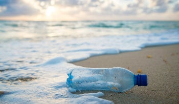 Storms wash plastic bottles onto beaches but microplastics come back to land with the rain everywhere