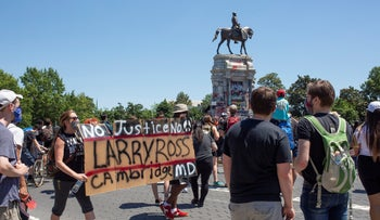 Protesters rallying near the statue of Confederate Gen. Robert E. Lee in Richmond, Virginia, June 13, 2020.