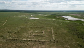 Aerial view of a fort (square) and possible animal pen (round) along the Great Wall of Mongolia: such forts were built every 30 kilometers