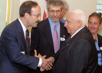 Rep. Eliot Engel, left, meeting with Israel's then-Prime Minister Ariel Sharon in Jerusalem, 2003.