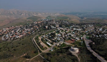 A view of the West Bank settlement of Ma'ale Efraim on the hills of the Jordan Valley, February 18, 2020.