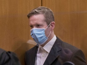 Stephen E. arrives in court for the first day of his trial, Frankfurt, Germany, June 16, 2020.