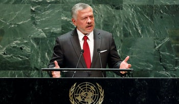 Jordan's King Abdulllah speaking at the United Nations General Assembly in New York, 2019.