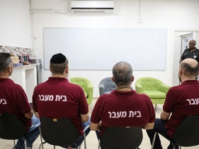 Prisoners are seen in an Israeli prison, September 9, 2019.