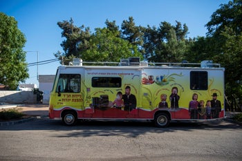 Mobile missionaries: A Chabad bus roving Israel as part of the movement's outreach work to bring Jews to an observant Orthodox lifestyle. Abirim, 9 February 2019