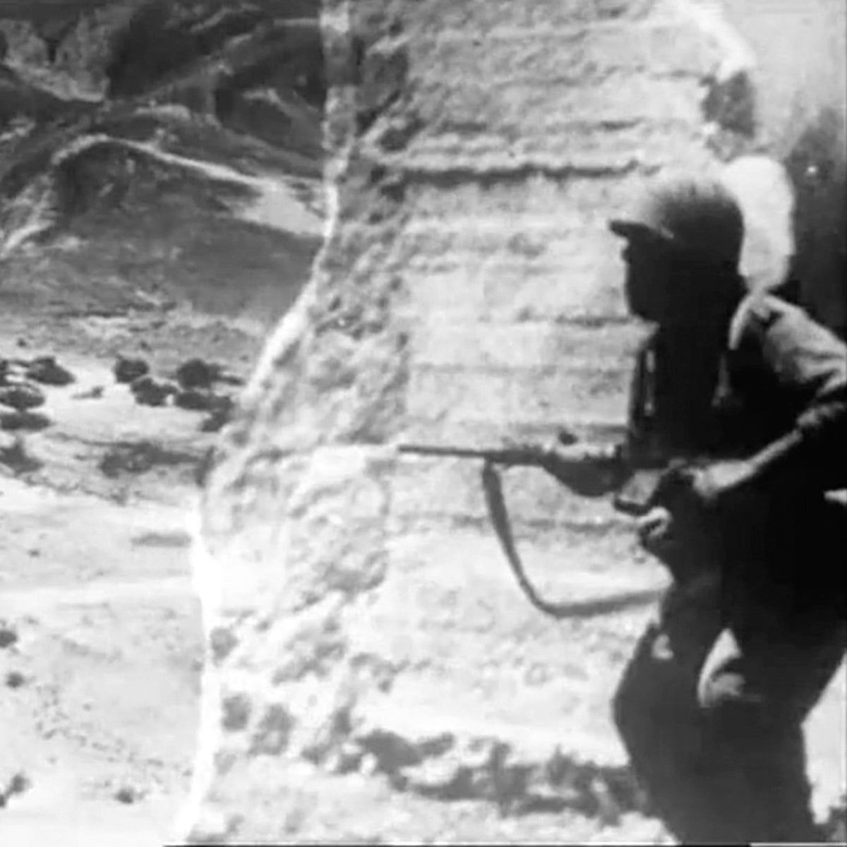 """A scene from the film """"Six Days."""" It turned out that very few of the battles had been documented on film by official bodies, so they were reenacted."""