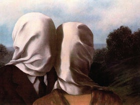 """The Lovers,"" by René Magritte (1928)."