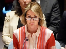 File photo: U.S. Ambassador to the United Nations Kelly Craft speaks during a Security Council meeting about the situation in Syria at the UN, New York, U.S., February 28, 2020.