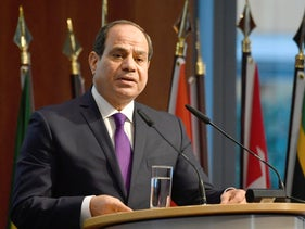 "Egypt's President Abdel Fattah al-Sissi speaks at the ""G20 Investment Summit - German Business and the CwA Countries 2019"" in Berlin, Germany, November 19, 2019."