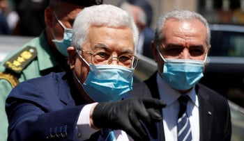 Palestinian President Mahmoud Abbas and Prime Minister Mohammad Shtayyeh take a tour as the coronavirus disease (COVID-19) restrictions ease, in Ramallah, West Bank, June 15, 2020.