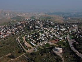 A view of the West Bank settlement of Ma'ale Efraim on the hills of the Jordan Valley, on Tuesday, February 18, 2020.