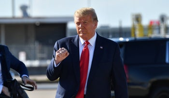 U.S. President Donald Trump arrives at Tulsa International Airport on his way to his campaign rally, June 20, 2020.