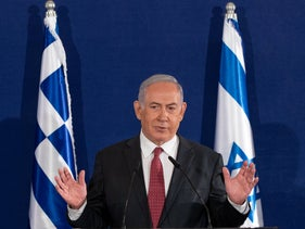 Prime Minister Benjamin Netanyahu gives a speech in Jerusalem, June 16, 2020